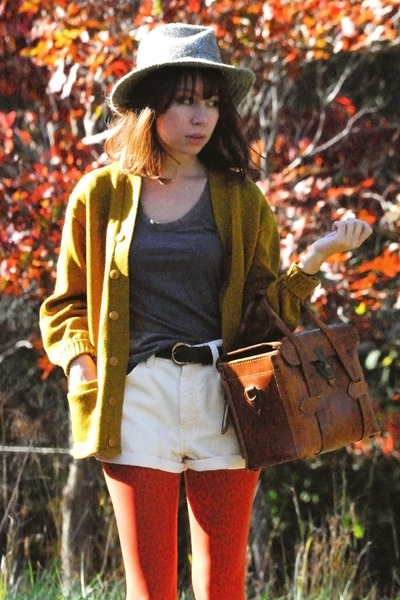 gold vintage cardigan - yellow vintage levis shorts - brown vintage - green vint