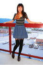 Black-top-orange-vintage-scarf-blue-skirt-black-house-of-holland-tights-