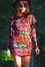 Ruby-red-tribal-print-romwe-dress-dark-brown-vintage-hat-blue-blue-lens-sung