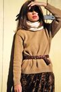 Beige-vintage-sweater-brown-vintage-dress-white-vintage-scarf-brown-vintag