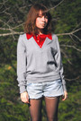 Gray-vintage-sweater-blue-gap-shorts-black-tights-black-adidas-shoes