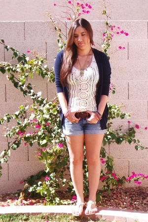 blue Forever 21 sweater - blue hollister shorts - white Forever 21 top