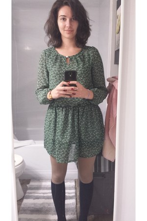 army green vintage dress - navy knee high socks Ardene socks