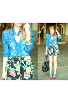 blue denim top - black floral shorts