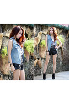 black leather Sammy dress shorts - sky blue denim OASAP vest