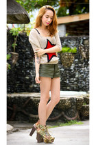 beige sweater - army green shorts