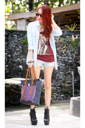 light blue top - brick red printed Topshop t-shirt