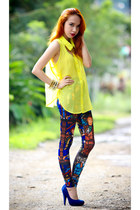 yellow neon top - navy cathedral leggings