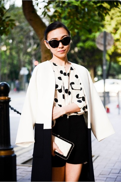 polka dot GoodNight Macaroon blouse - Zara jacket - clutch bag Chanel bag