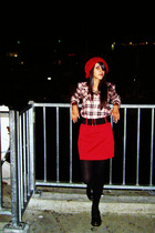 red Forever 21 hat - black Dr Martens boots - flannel shirt