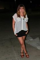 white Forever 21 shirt - black American Rag shorts - brown Steve Madden heels