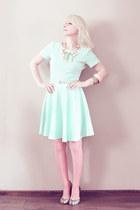 aquamarine H&M dress - salmon Calzedonia tights - light pink necklace