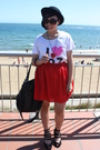 Red-diy-skirt-white-cotton-on-t-shirt-black-deborah-k-accessories-black-da