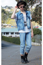 acid wash jacket - Dr Martens boots - calvin klein jeans - fedora hat