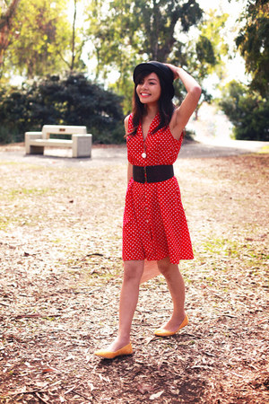 crimson wide belt Forever 21 belt - red dress - crimson No label hat