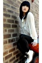 saburoku blouse - doc martens boots - Kookai tights