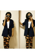 blue blazer - black leggings - blue sunglasses - white top