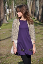 camel mina art coat - deep purple BABYLON dress