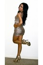 Beige-bebe-shoes-beige-sequin-bebe-dress