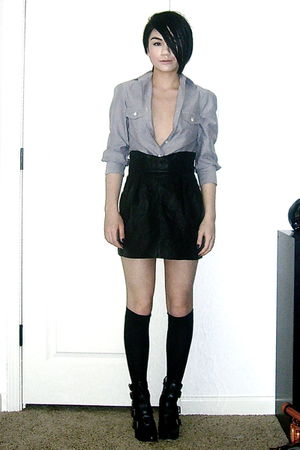 vintage skirt - Silence &amp; Noise shirt - Betsey Johnson stockings - Dolce Vita sh