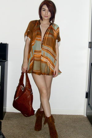 catherine malandrino dress - Gucci purse - Bakers shoes