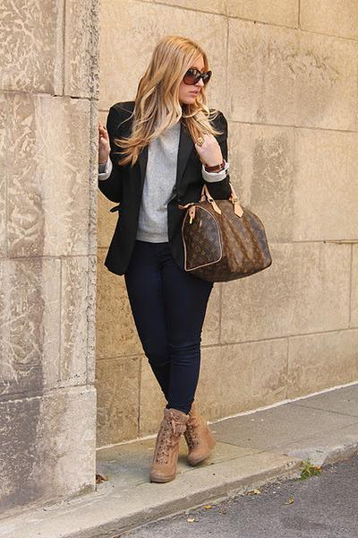 dark brown Louis Vuitton purse - beige Aldo boots - navy Zara jeans