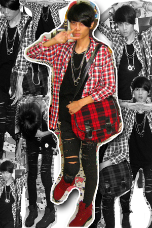 black loose top - red oxford doc mart mitchybellindonesia shoes