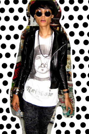 Zara hat - jacket - t-shirt - jeans - vintagedad closet glasses - random F21 nec