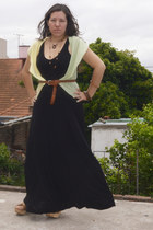 long black old dress - cotton vest - Lazaro belt