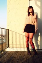 blouse - boots - tights - shorts