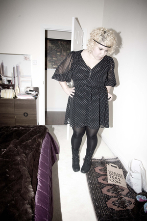 black Primark dress - black thrifted boots