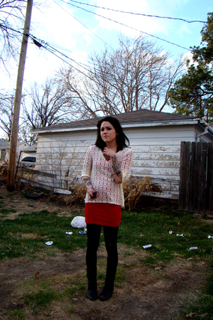 black vintage boots - red American Apparel dress - white vintage shirt