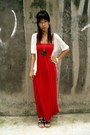 Red-maxi-forever-21-dress-forest-green-peacock-buffalo-exchange-necklace-whi