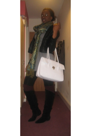 Macys jacket - Forever 21 dress - asos purse - Topshop leggings - Bertie boots