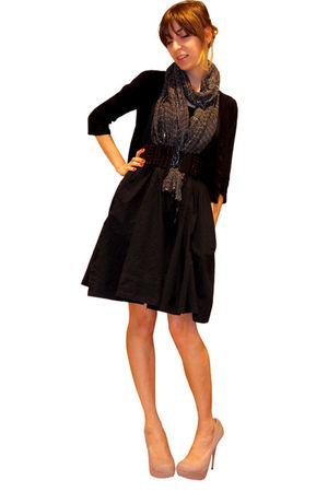 black Forever 21 cardigan - Heritage 1981 scarf - Old Navy dress - black Forever