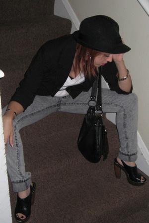 forever 21 hat - Target blazer - Hanes t-shirt - jeans - Aldo shoes - purse