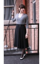 heather gray thrifted sweater - black thrifted vintage skirt - white thrifted vi
