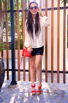 red Rebecca Minkoff purse - black Zara shorts - red lyn around sandals