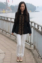 black calvin klein blazer - white MORGAN jeans - brown Zara blouse
