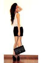 black boutique skirt - black Chanel bag - black Marc by Marc Jacobs wedges