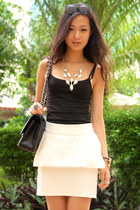 white Zara skirt - black Chanel purse - black Forever 21 top - black Kenzo heels
