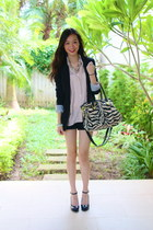 ivory Aldo bag - black cotton on blazer - light pink H&M shirt