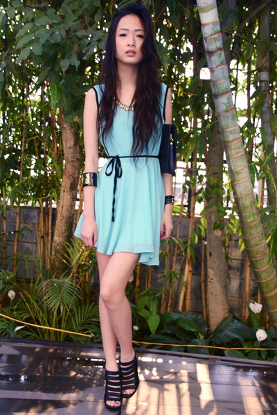 black Accessorize purse - aquamarine boutique dress - black Aldo heels