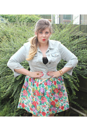 denim jacket Primark jacket - H&M intimate - Dorothy Perkins skirt