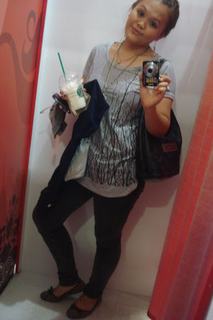 silver bought online top - black bought online jeans - gold Parisian shoes - XOX