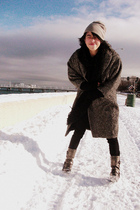 silver H&M hat - gray vintage coat - brown guess by marciano boots - black H&M s