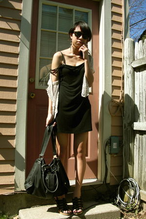 black Marshalls dress - black Aldo purse - black Rampage shoes - beige vintage c