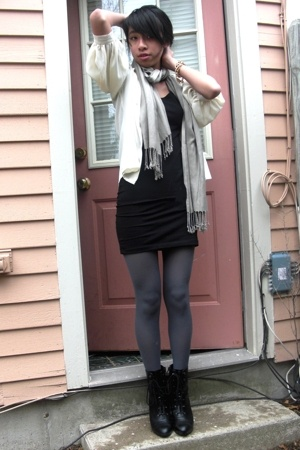 vintage blouse - H&M dress - H&M scarf - Via Spiga tights - payless boots