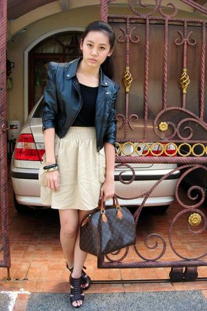 black Gaudi top - black jacket - beige H&M skirt - brown Louis Vuitton bag - bro