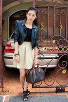 black Gaudi top - black jacket - beige H&M skirt - brown Louis Vuitton bag - bro